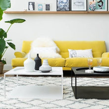 coffee table white in modern interior with yellow couch