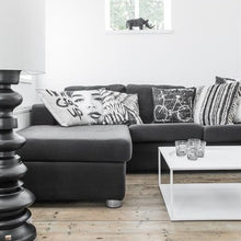 square white metal coffee table in odern interior with grey couch