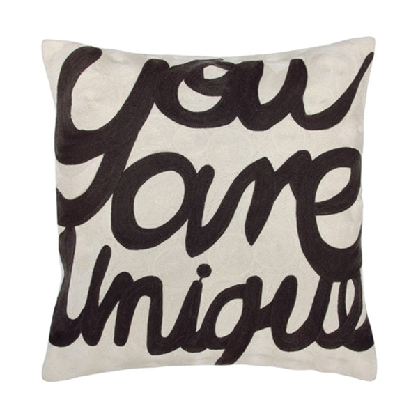 hand embroided throw pillow you are unique