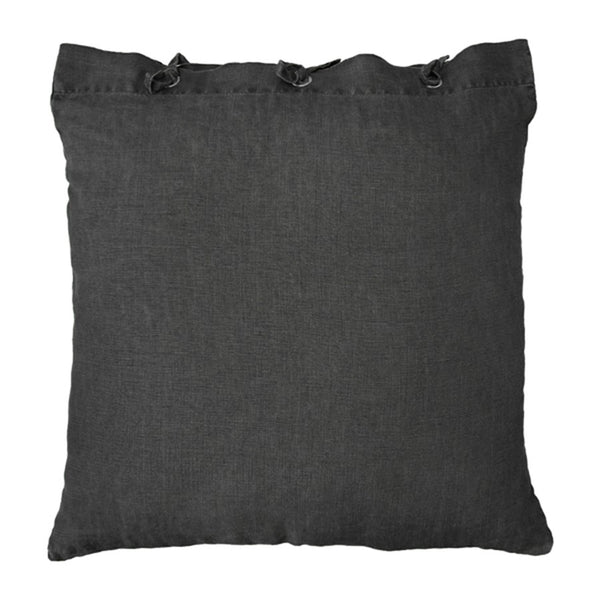 Linen throw pillow - charcoal