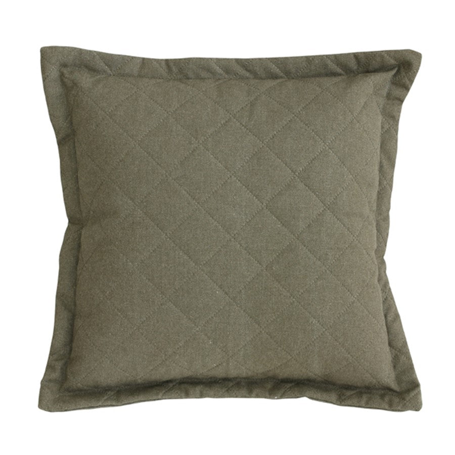 Quilted linen canvas cushion - green