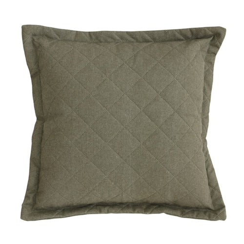 Quilted canvas cushion - green