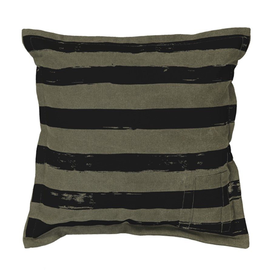 TKU2025 canvas throw pillow in brown and black stripe