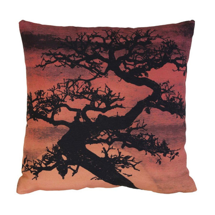 throw pillow with bonsai tree and sunset