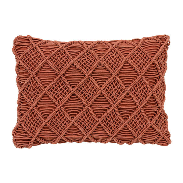 macreme textured throw pillow in terra red