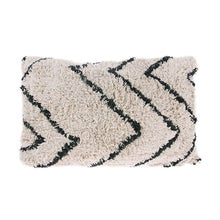 fluffy throw pillow with zigzag pattern