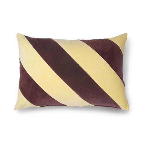 Striped lumbar pillow - velvet maroon and yellow