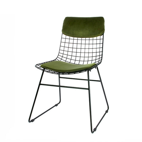 velvet green comfort kit for metal wire chair