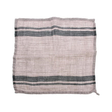 unfolded 100% linin napkin in grey with dark stripe