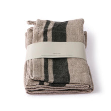 set of two linen napkins with stripes