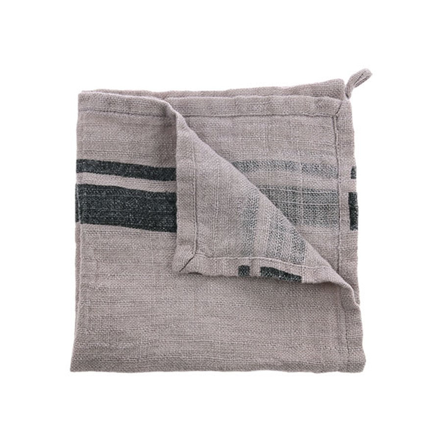 100% natural linen napkin in grey with dark stripe