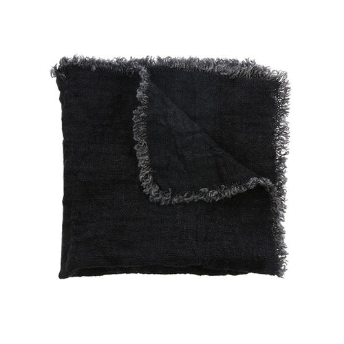 natural linen napkin with fringes in charcoal