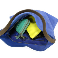 Blue leather and suede bag with zipper and separate components