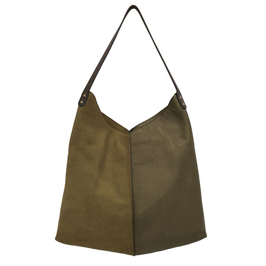 leather and suede green bag