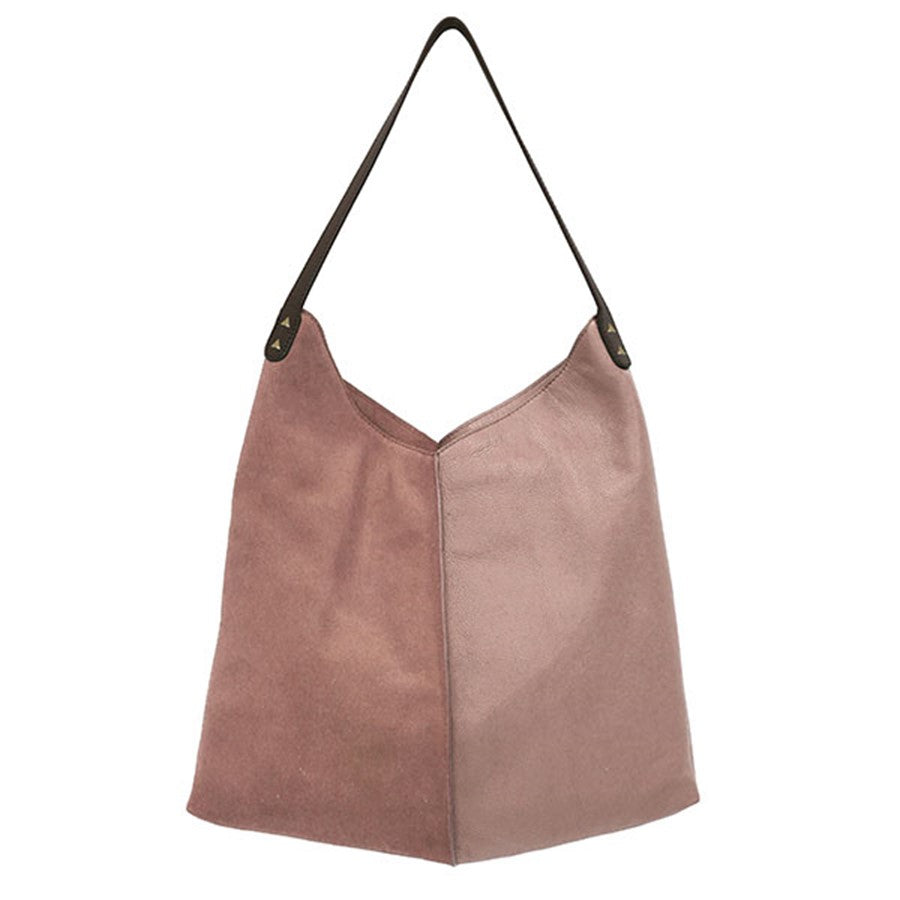 pink leather and suede bag with shoulder strap