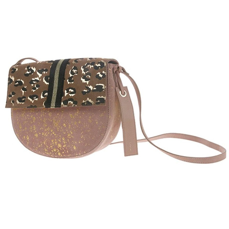 funky leather bag in pink with gold and panther print