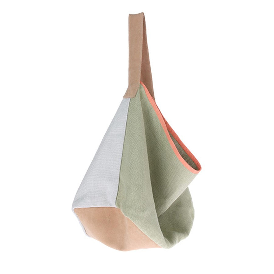 100% linen bag mint green and white