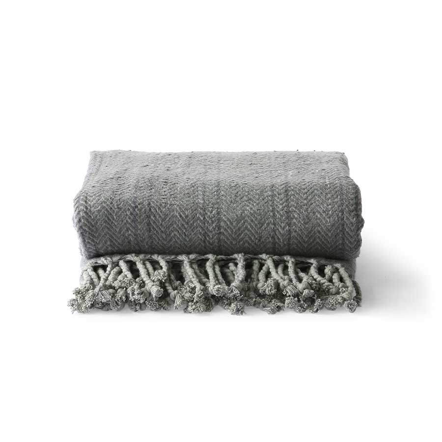 Brushed cotton throw blanket - grey/purple