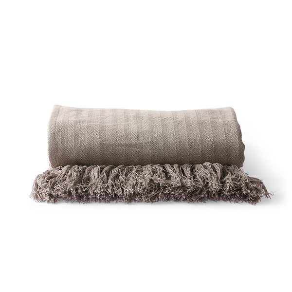 Cotton throw blanket - taupe