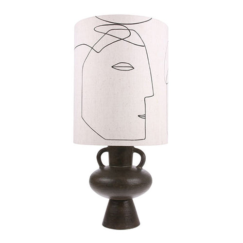hk living VOL5031+VLK2018 lampshade with printed faces and charcoal base with two arms