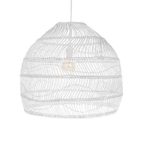 vol5047 wicker pendant light in white with white electrical cord