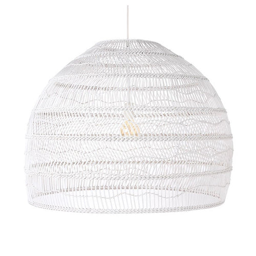 Wicker hanging lamp white - Large