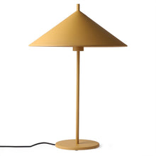tringle shaped metal table lamp in color ochre