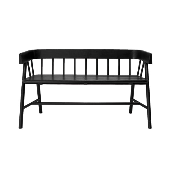 black wooden bench in modern farmhouse style
