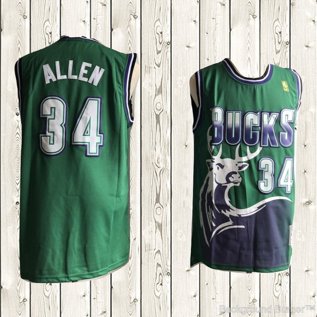 half off 27ce9 bb633 Ray Allen #34 Milwaukee Bucks Jersey