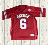 AC Slater #6 Bayside Football Jersey Stitched Red - Saved By The Bell