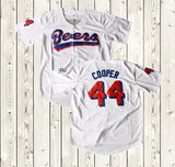 MASMIG Joe Cooper #44 Beers Baseball Jersey BASEketball Movie Jersey Stitched White