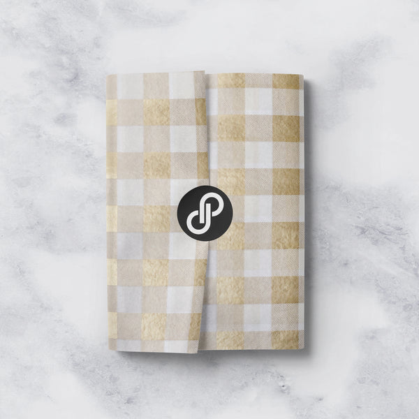 Gold and White Plaid Tissue Paper