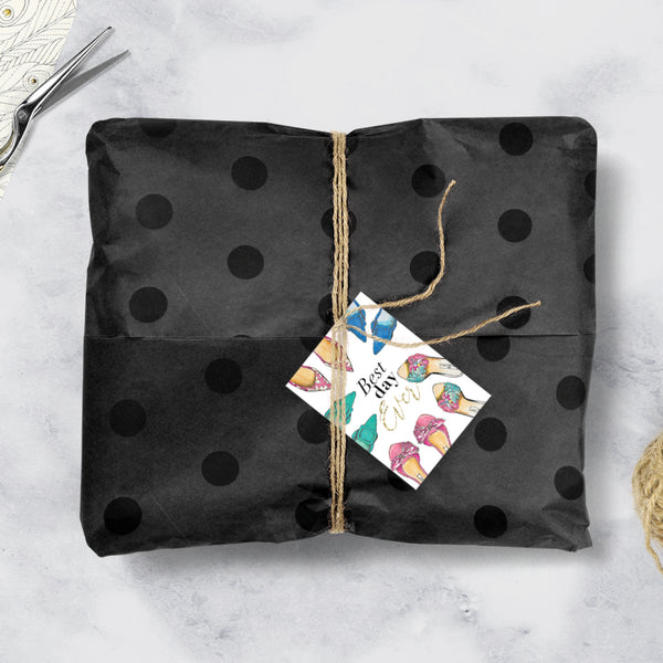 Decorative Tissue Paper - Black on Black Polka Dots