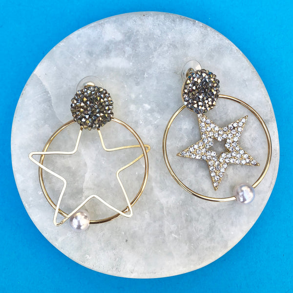 Star Earrings with Pearls