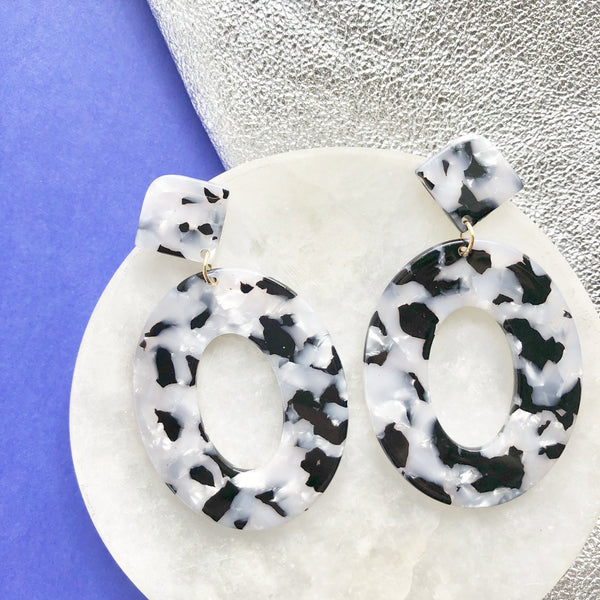 Black and White Tortoise Shell Earrings