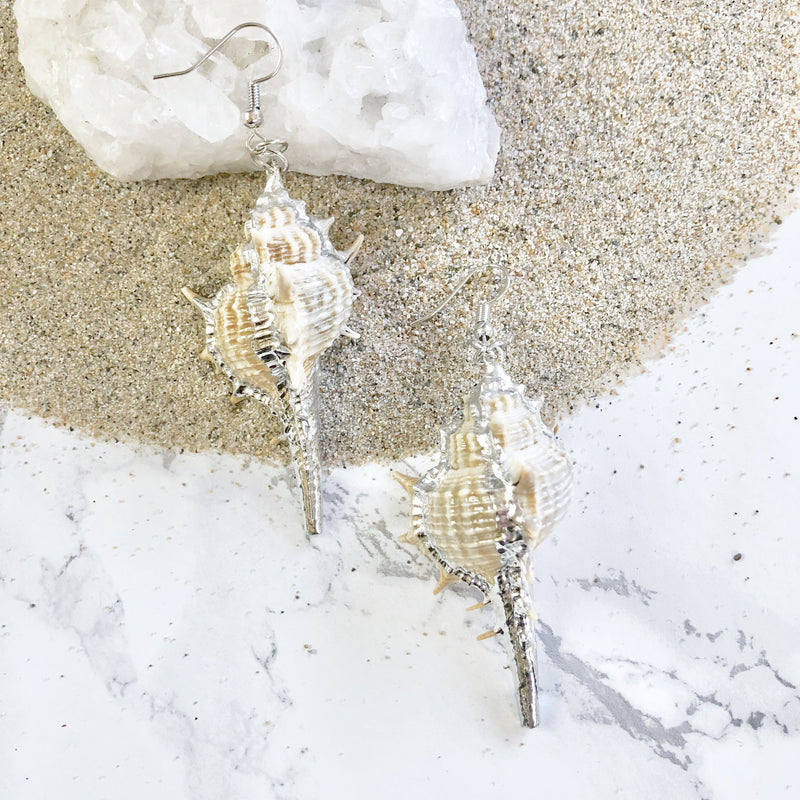 Silver Dipped Shell Earrings