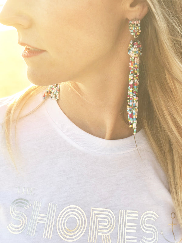 Colorful Beaded Tassel Earrings