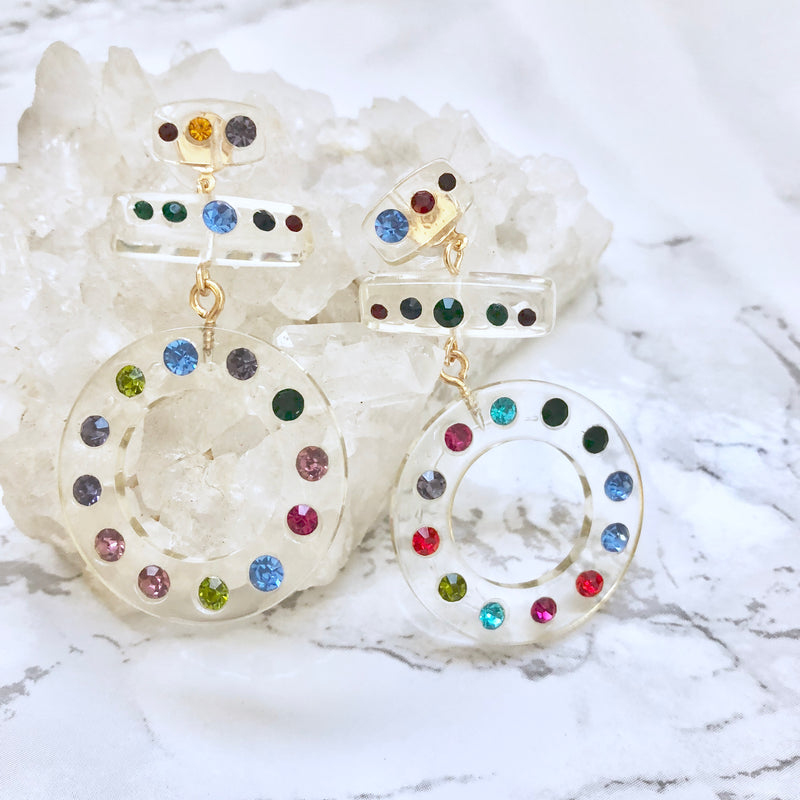 Clear Earrings with Multicolored Gemstones