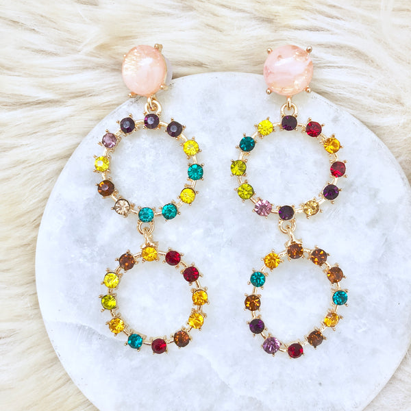 Multi-Color Gemstone Earrings