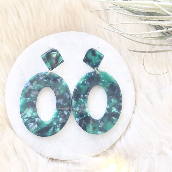 Emerald Green Acetate Earrings