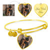 Anniversary - Luxury 18k Gold Finish Heart Bangle