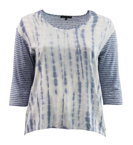 Tie-Dye Tee Shirt with Striped Sleeves