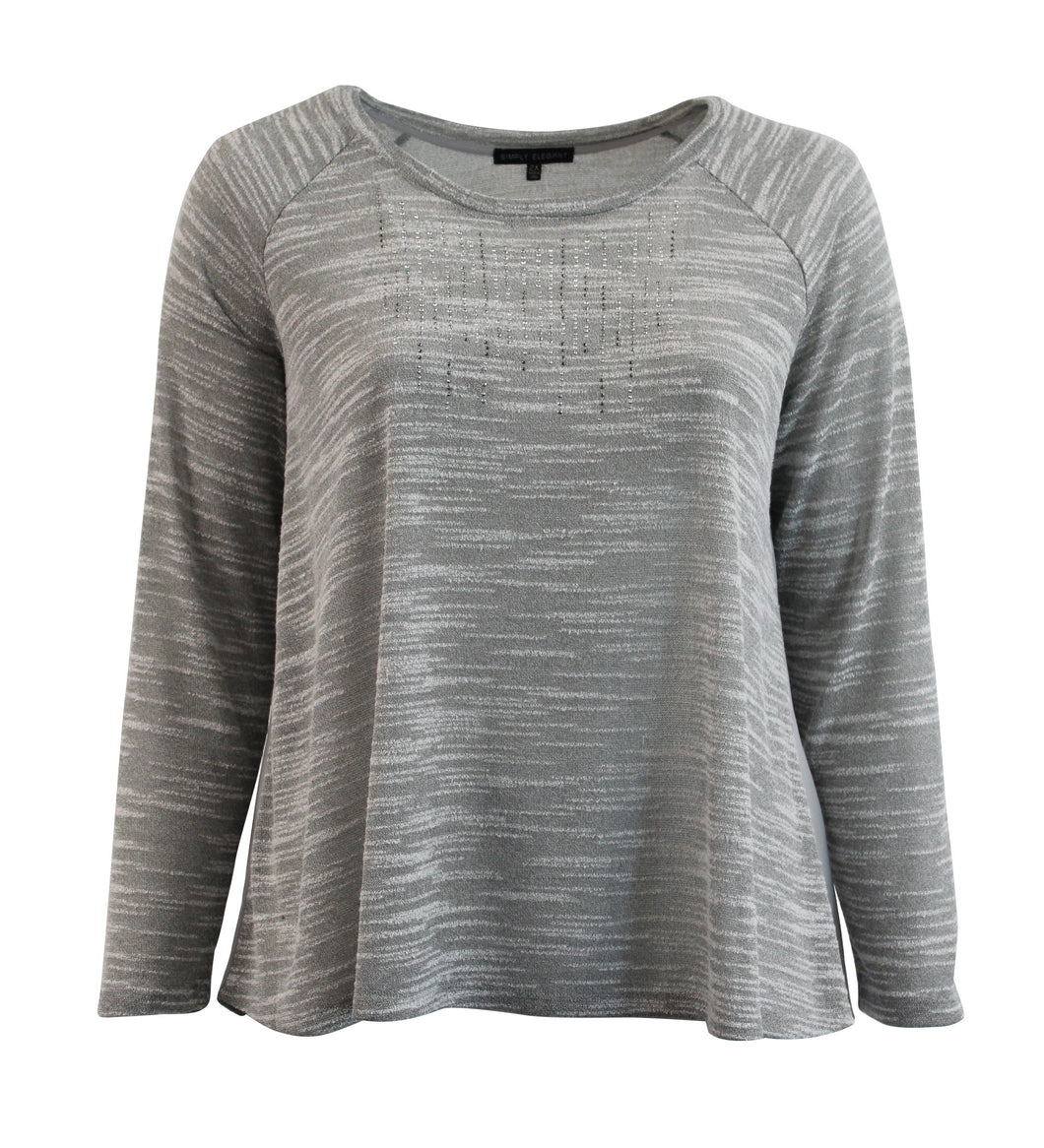 Heather Color Knit Long Sleeve with Contrasted Back