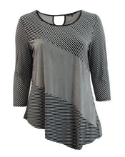 Striped Asymmetrical, Quarter Sleeve Tee