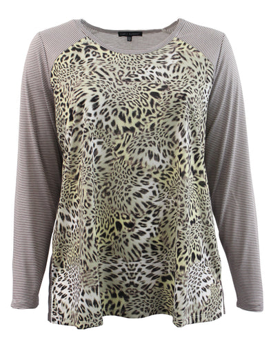Leopard Print Long Sleeve Tee with Striped Sleeves