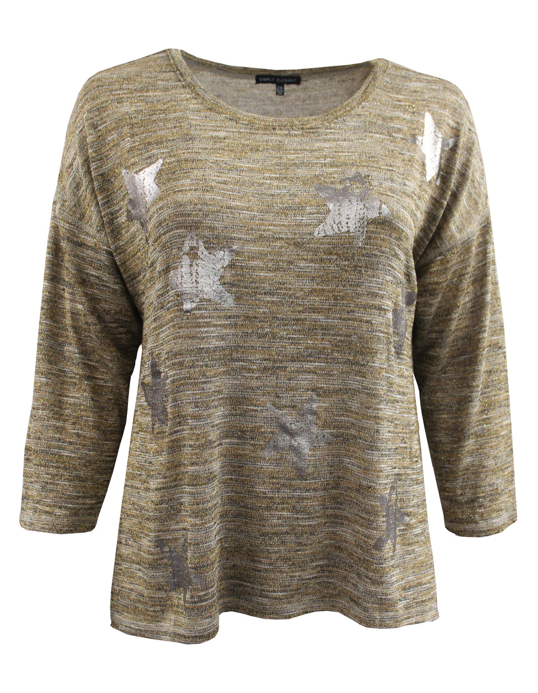 Metallic Design on Heathered Long Sleeve Tee
