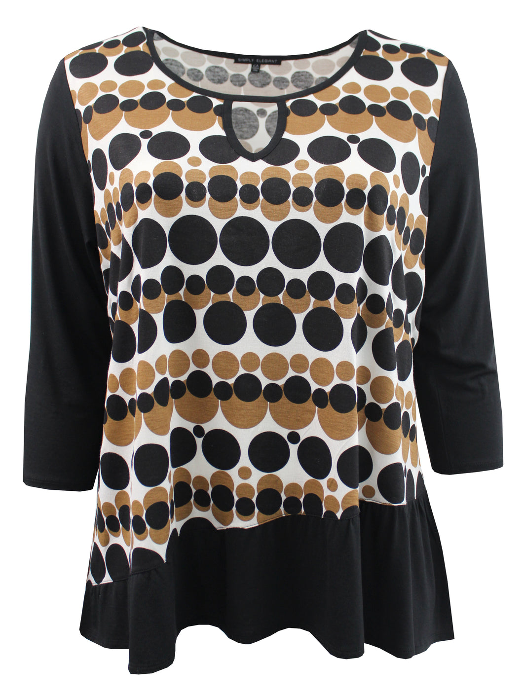 Polka Dot Blouse with Front Keyhole