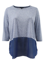 Striped Half Sleeve Tee with Chiffon Detail