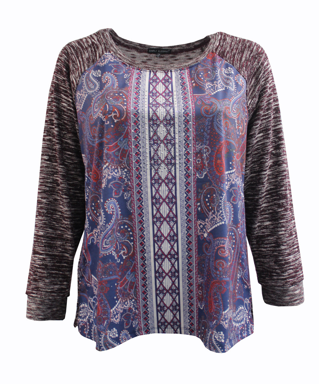 Multi-Color Paisley Sweater Knit with Burgundy Sleeves