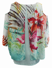 Floral Cold Shoulder Chiffon Blouse